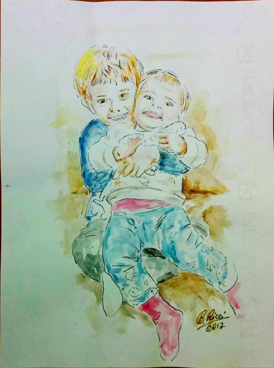 I nipotini Pietro e Anna abbracciati acquarello 2017